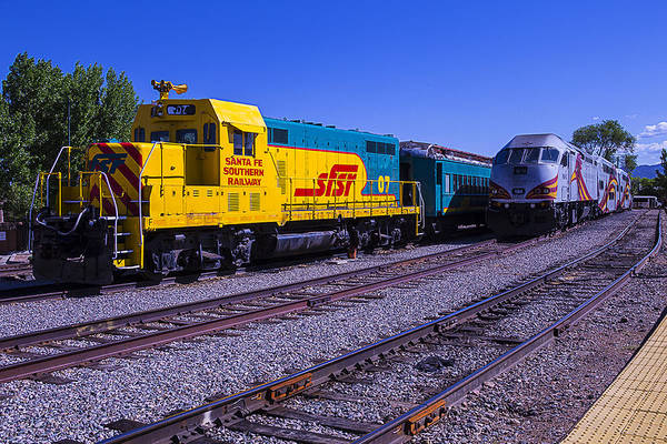 Commuter Rail Wall Art - Photograph - Two Trains by Garry Gay