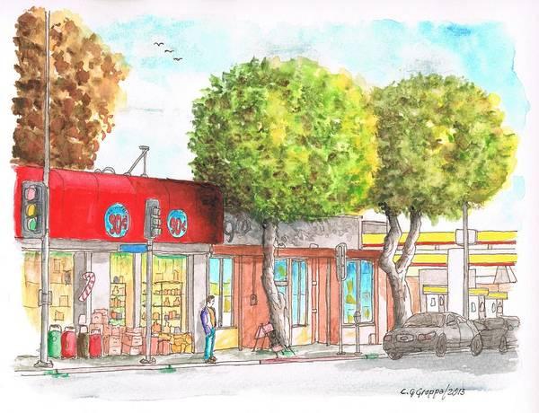 Acuarela Painting - Two Tween Trees In Santa Monica Blvd - Santa Monica - Ca by Carlos G Groppa