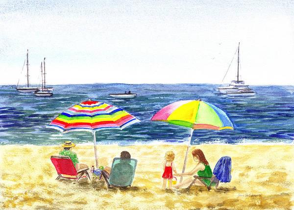 Wall Art - Painting - Two Umbrellas On The Beach California  by Irina Sztukowski