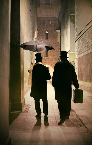 Photograph - Two Victorian Men Wearing Top Hats In The Old Alley by Jaroslaw Blaminsky