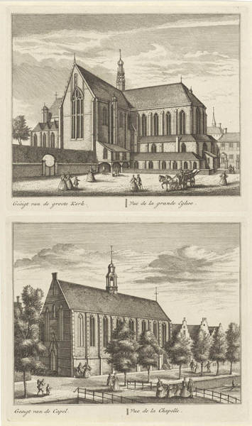 Hiking Drawing - Two Views In Alkmaar With The Great Church And The Chapel by Leonard Schenk And Abraham Rademaker