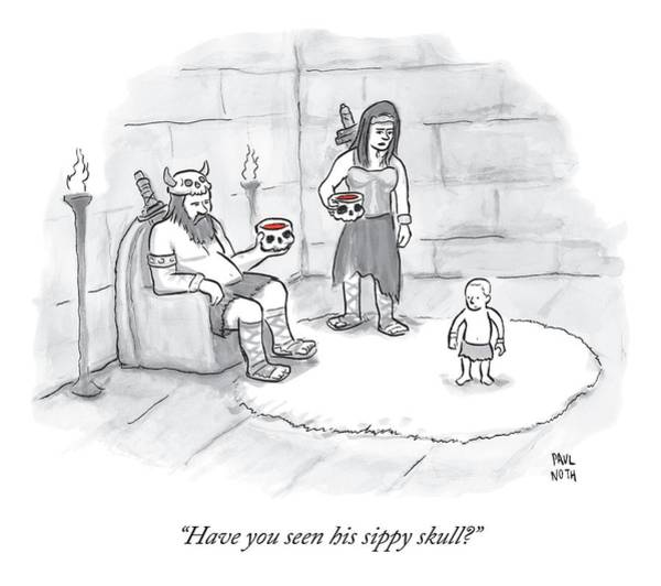 Wall Art - Drawing - Two Viking Parents Address Their Child by Paul Noth