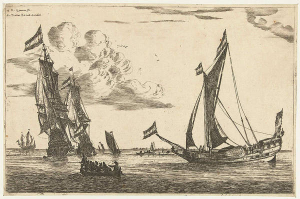 Wall Art - Drawing - Two Warships And Hunting, Print Maker Reinier Nooms by Reinier Nooms And Arthur Tooker