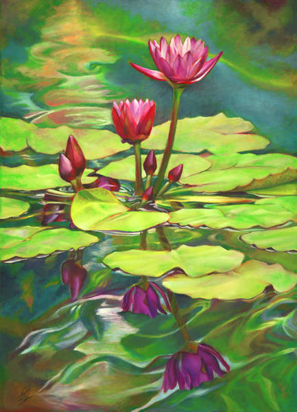Wall Art - Painting - Two Water Lilies And Their Reflections by Nancy Tilles