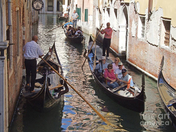 Photograph - Two Way Traffic - Gondola's - Venice by Phil Banks