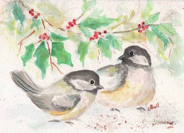 Painting - Two Winter Birds by Claire Bull
