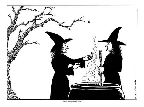 Halloween Drawing - Two Witches: One Stirring A Cauldron by Alex Gregory