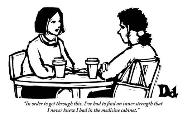 Cafe Drawing - Two Women Are Seen Sitting And Speaking With Each by Drew Dernavich