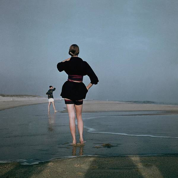 Two Women At A Beach Art Print by Serge Balkin