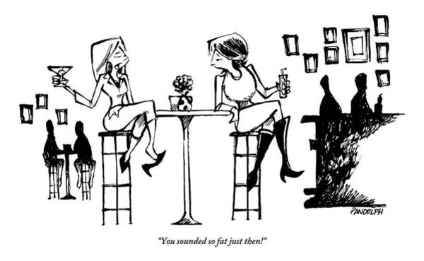 Skinny Drawing - Two Women Drink Cocktails At A High Table by Corey Pandolph