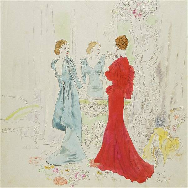 Blue Dress Digital Art - Two Women Getting Ready In Schiaparelli And Worth by Cecil Beaton