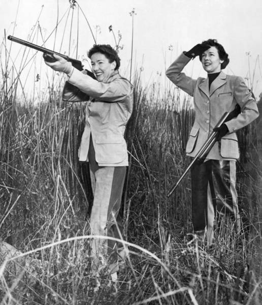 1953 Photograph - Two Women Hunting by Underwood Archives