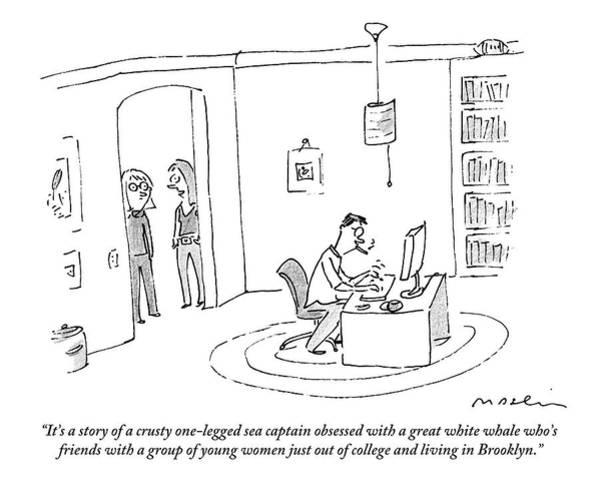 Brooklyn Drawing - Two Women In A Doorway Talk As A Man Writes by Michael Maslin