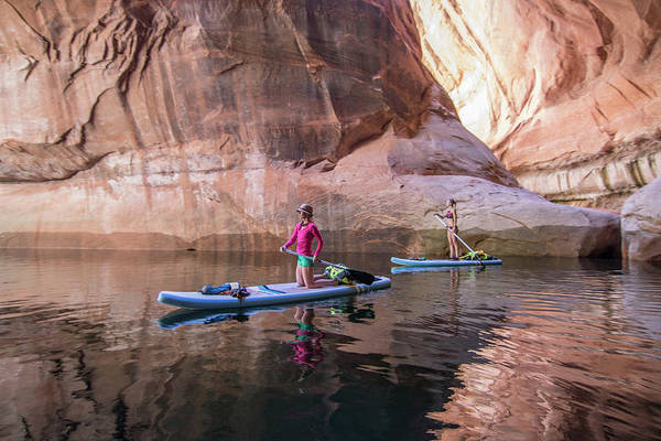 Standup Paddleboard Photograph - Two Women Paddleboarding by Suzanne Stroeer
