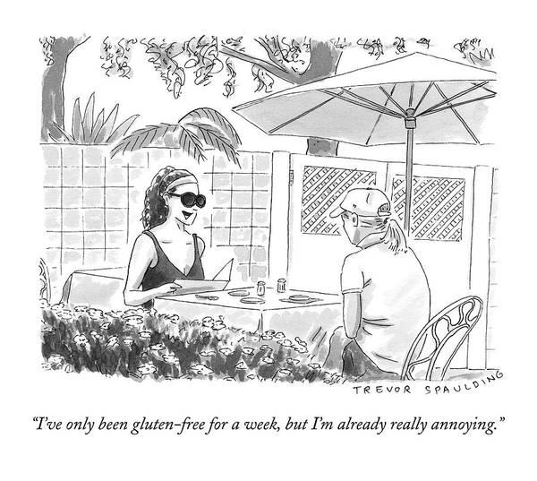 Gluten Drawing - Two Women Speak At A Cafe Speak by Trevor Spaulding
