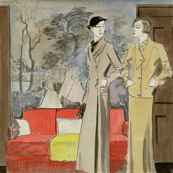 Indoors Digital Art - Two Women Standing By A Sofa by R.S. Grafstrom