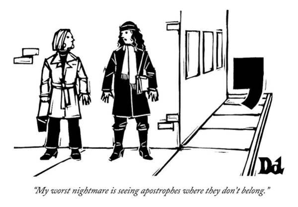 2013 Drawing - Two Women Talk On The Sidewalk While An by Drew Dernavich