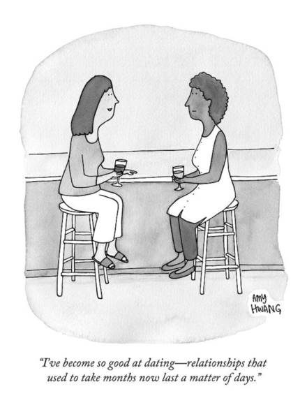 Friendship Drawing - Two Women Talking In A Bar by Amy Hwang