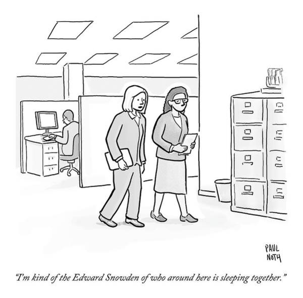 Affair Drawing - Two Women Walk Through An Office by Paul Noth