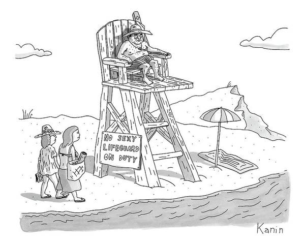 July 2nd Drawing - Two Women Walk Up To A Lifeguard Stand by Zachary Kanin