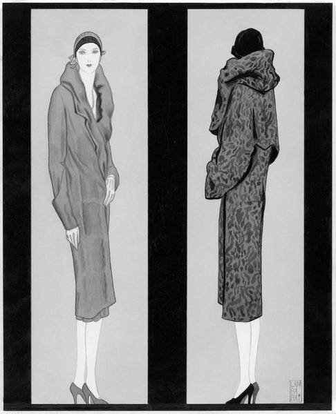 High Heels Digital Art - Two Women Wearing Coats by Lambarri