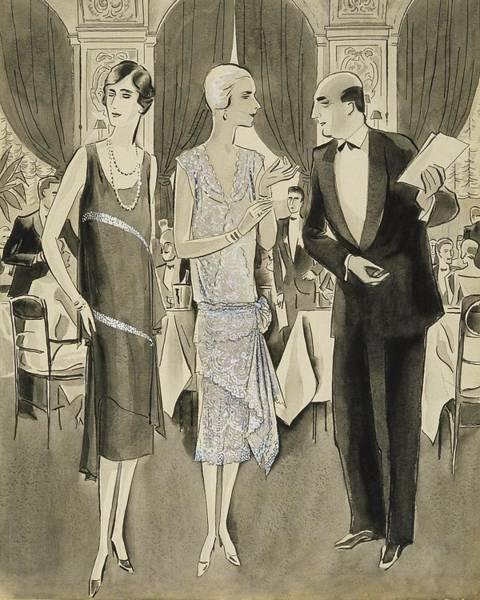 Necklace Digital Art - Two Women Wearing Crepe Elizabeth Dresses by William Bolin