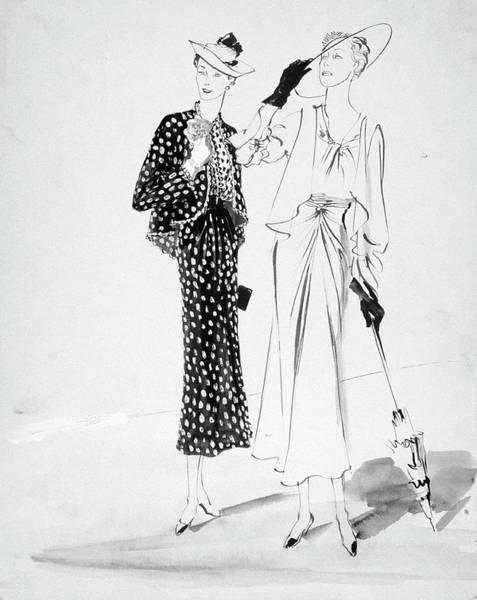 Dress Digital Art - Two Women Wearing Hats And Looking Away by Rene Bouet-Willaumez