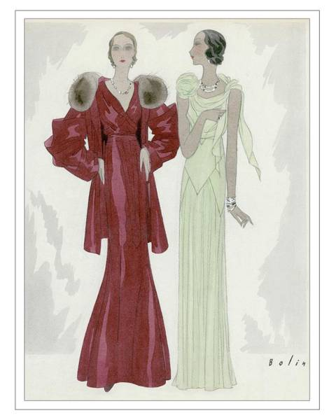 Digital Art - Two Women Wearing Jay-thorpe And Bendel Dresses by William Bolin
