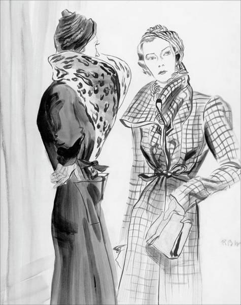 Digital Art - Two Women Wearing Schiaparelli Coats by Rene Bouet-Willaumez