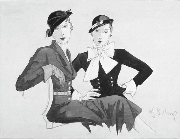 Sitting Digital Art - Two Women Wearing Shepherdess Hats And Sitting by Douglas Pollard