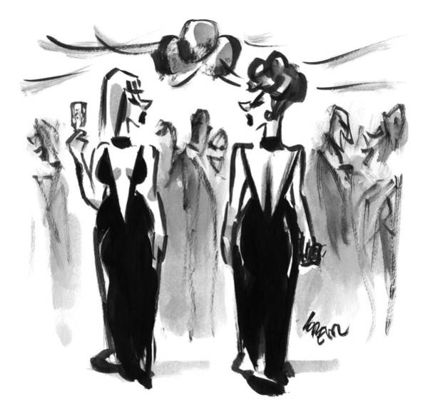 Parties Drawing - Two Women Wearing The Same Dress At A Cocktail by Lee Lorenz