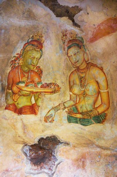 Golden Princess Photograph - Two Women With Flowers. Sigiriya Cave Fresco by Jenny Rainbow