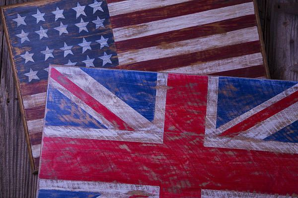 Wall Art - Photograph - Two Wooden Flags by Garry Gay
