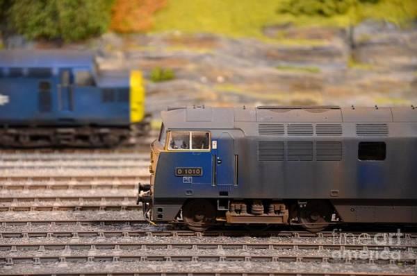 Photograph - Two Yellow Blue British Rail Model Railway Train Engines by Imran Ahmed
