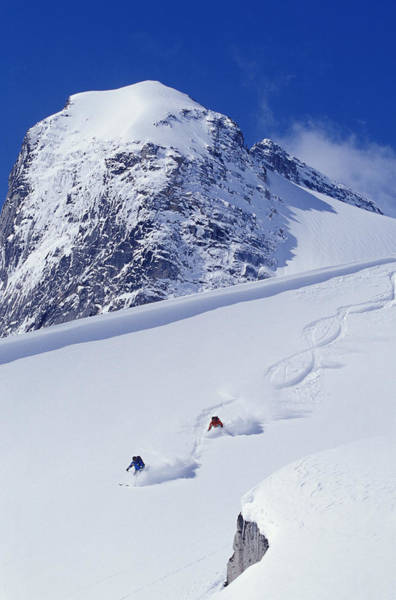 Bugaboo Photograph - Two Young Men Skiing Untracked Powder by Henry Georgi Photography Inc