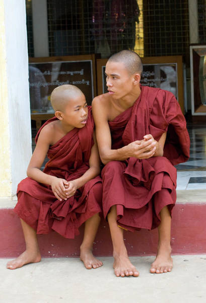 Shaved Head Photograph - Two Young Monks In Temple Bagan Myanmar by Nancy Brown/bass Ackwards