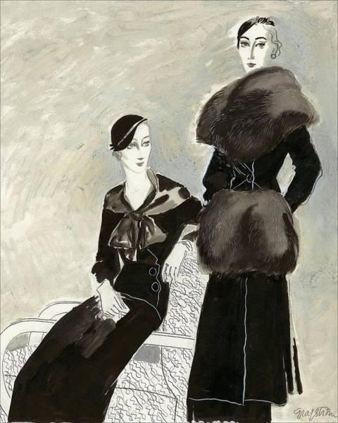 Elegance Digital Art - Two Young Women: One Wearing A Fur Coat by R.S. Grafstrom