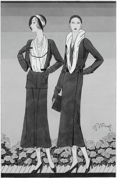 Footwear Digital Art - Two Young Women Wearing Schiaparelli Coats by Douglas Pollard