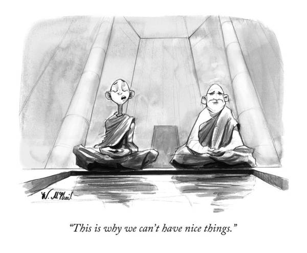 Saying Drawing - Two Zen Buddhist Monks Meditate by Will McPhail