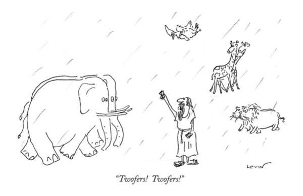 Elephants Drawing - Twofers!  Twofers! by Arnie Levin