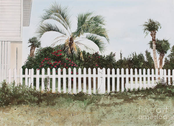 White Picket Fence Painting - Tybee Island Roses by Monte Toon