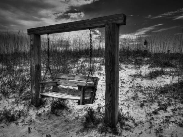 Photograph - Tybee Island Swing 003 Bw by Lance Vaughn