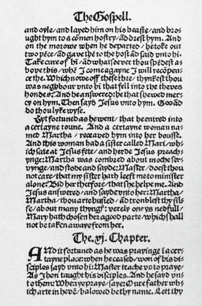 Wall Art - Painting - Tyndale's Bible, 1525 by Granger