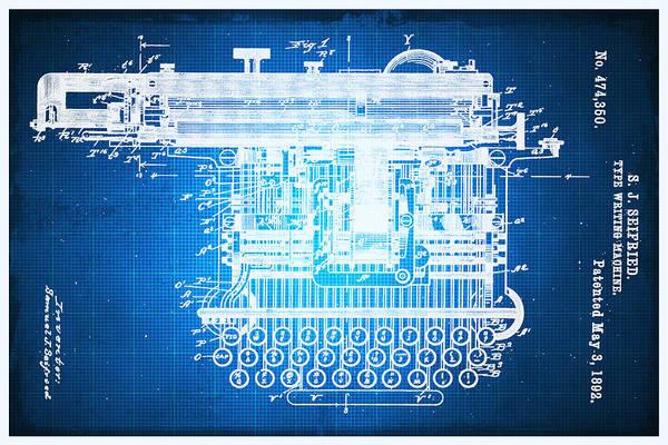 Mixed Media - Type Writing Machine Patent Blueprint Drawing by Tony Rubino
