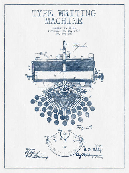 Typewriters Wall Art - Digital Art - Type Writing Machine Patent Drawing From 1897 - Blue Ink by Aged Pixel