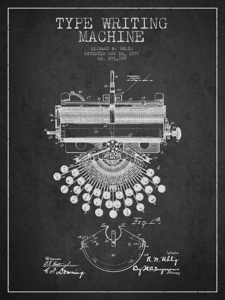 Patent Application Wall Art - Digital Art - Type Writing Machine Patent Drawing From 1897 - Dark by Aged Pixel