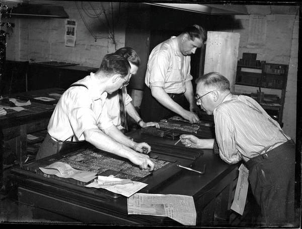 Setters Photograph - Typesetting At The Oxford Mail by Oxfordshire History Centre/oxford University Images