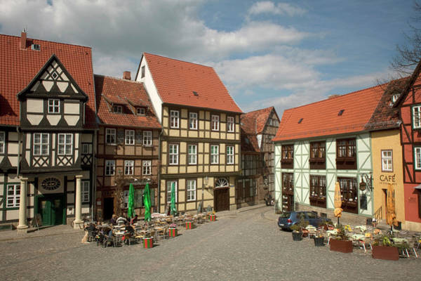 Sidewalk Cafe Photograph - Typical Quedlinburg, Germany Old Town by Dave Bartruff