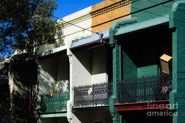 Photograph - Typically Colourful Australian Terraced Houses by David Hill