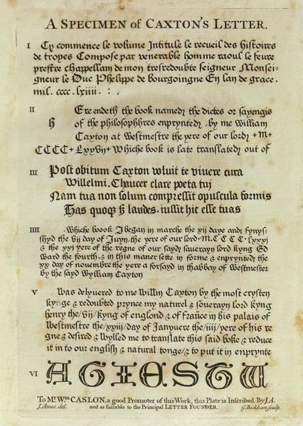 Saying Photograph - Typography And Notices Used By Caxton by Middle Temple Library